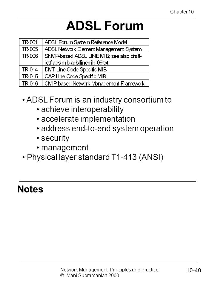 ADSL Forum Notes ADSL Forum is an industry consortium to