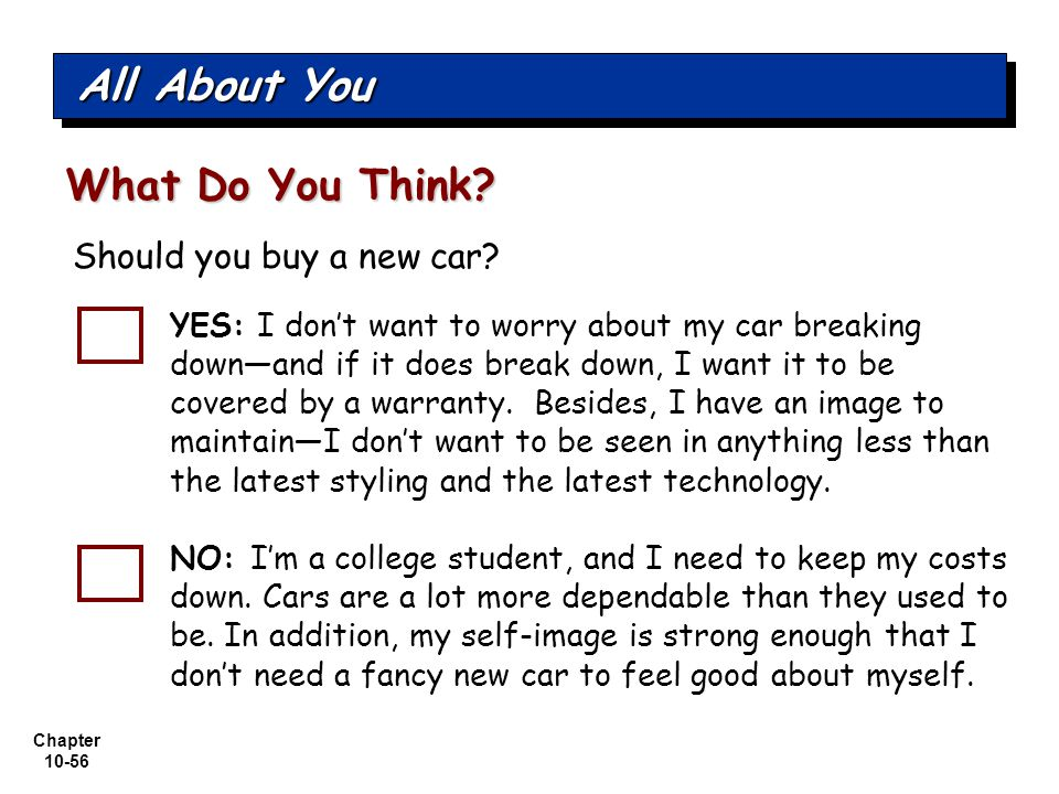 All About You What Do You Think Should you buy a new car