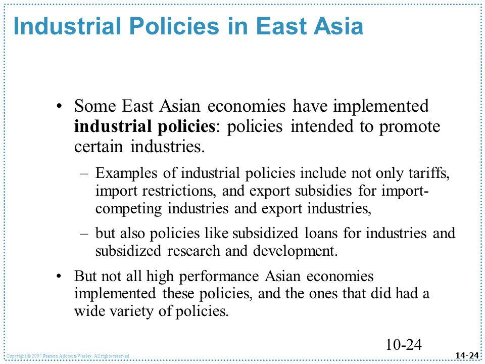 Industrial Policies in East Asia