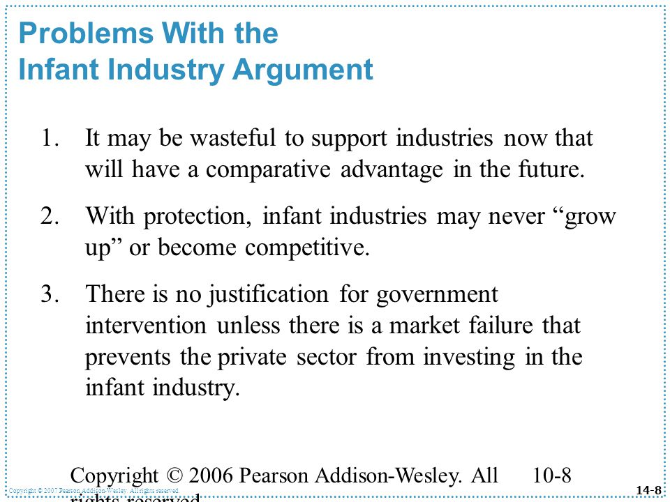 infant industry argument Despite its importance as an exception to the free trade case, the argument for infant industry protection has only sporadically been subjected to close theoretical scrutiny.