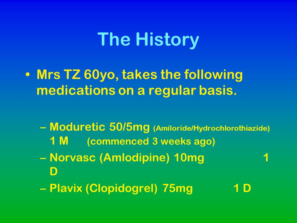 The History Mrs TZ 60yo, takes the following medications on a regular basis.