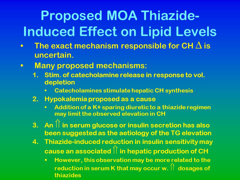 Proposed MOA Thiazide-Induced Effect on Lipid Levels
