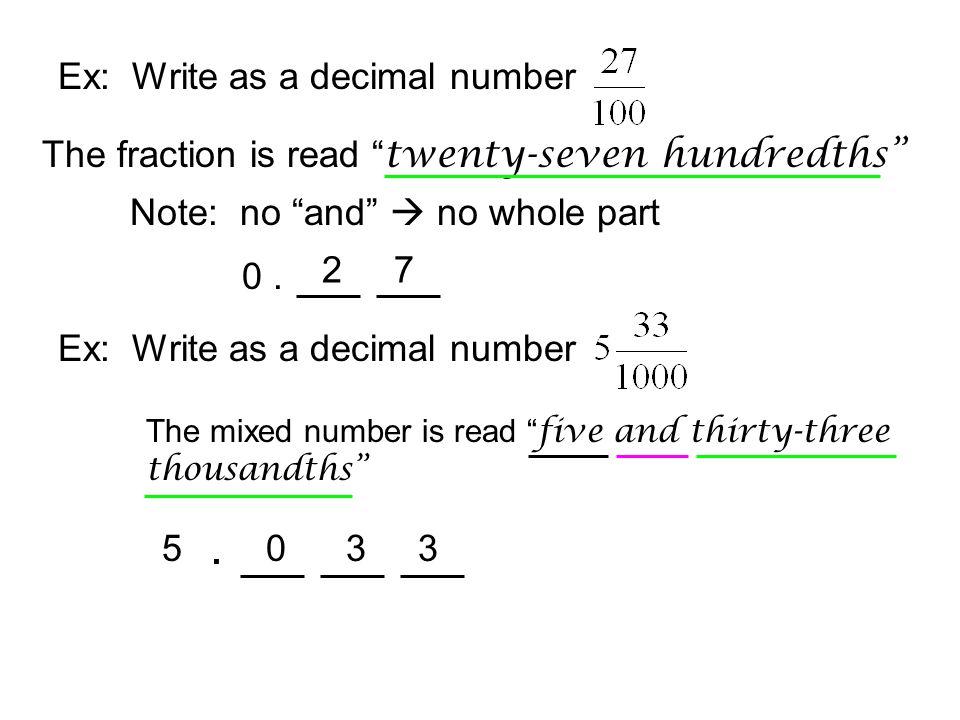 . Ex: Write as a decimal number