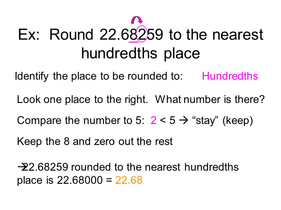 Ex: Round 22.68259 to the nearest hundredths place
