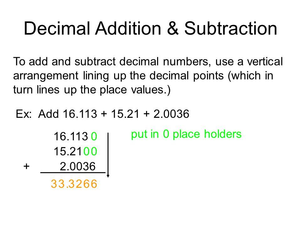 Decimal Addition & Subtraction