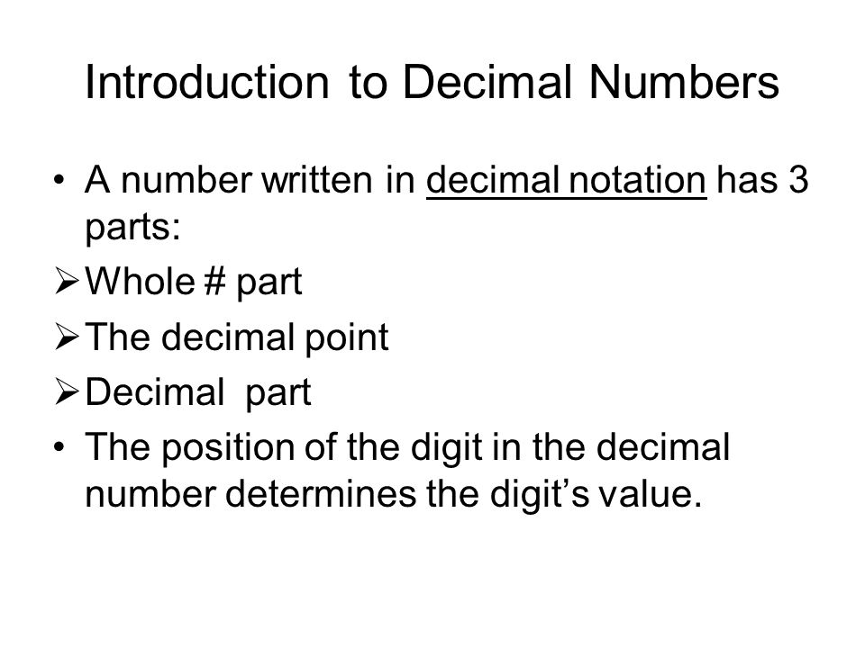 Introduction to Decimal Numbers