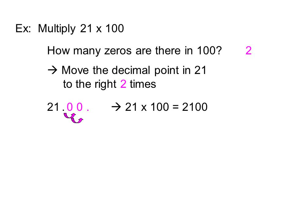 Ex: Multiply 21 x 100 How many zeros are there in 100 2.  Move the decimal point in 21 to the right 2 times.