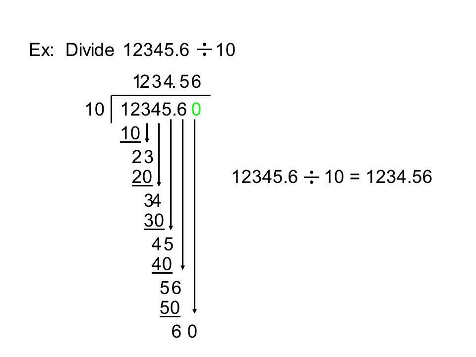 Ex: Divide 12345.6 10 1. 2. 3. 4. . 5. 6. 10. 12345.6. 10. 2. 3. 20. 12345.6 10 = 1234.56.