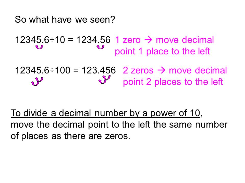 So what have we seen 12345.6 10 = 1234.56. 1 zero  move decimal point 1 place to the left. 12345.6 100 = 123.456.