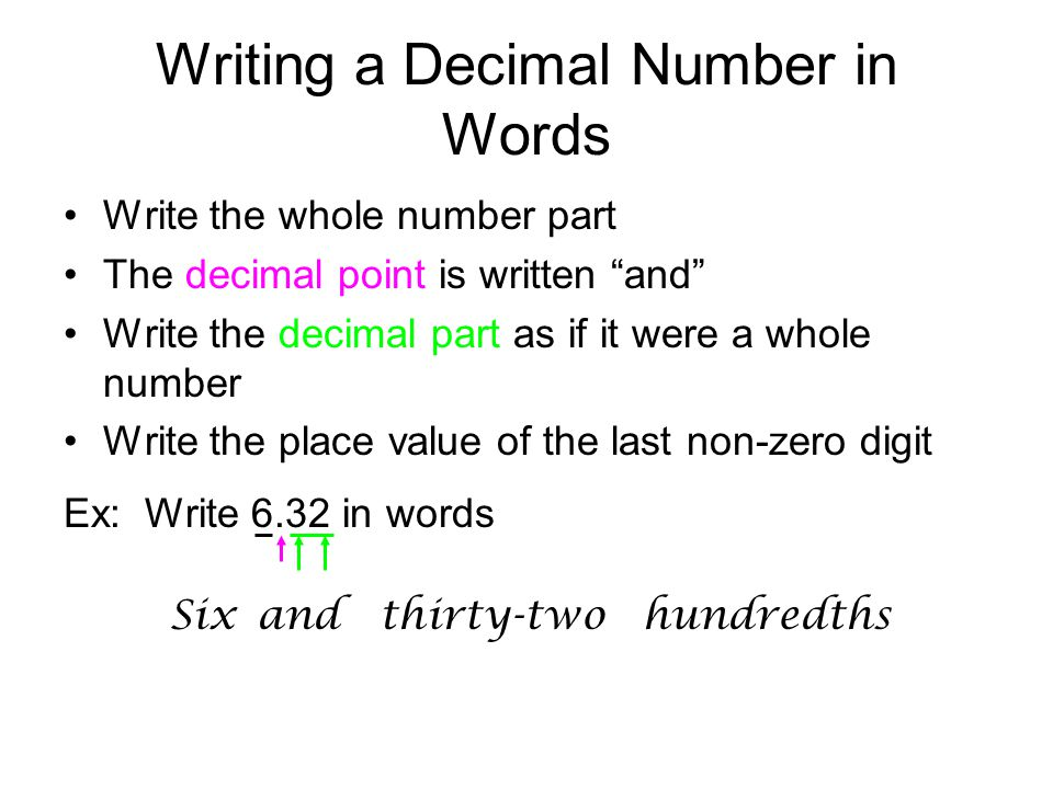 Writing a Decimal Number in Words