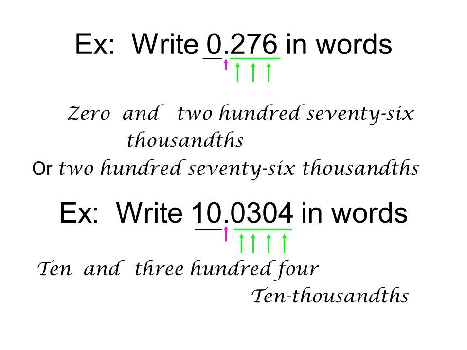 Ex: Write 0.276 in words Ex: Write 10.0304 in words Zero and