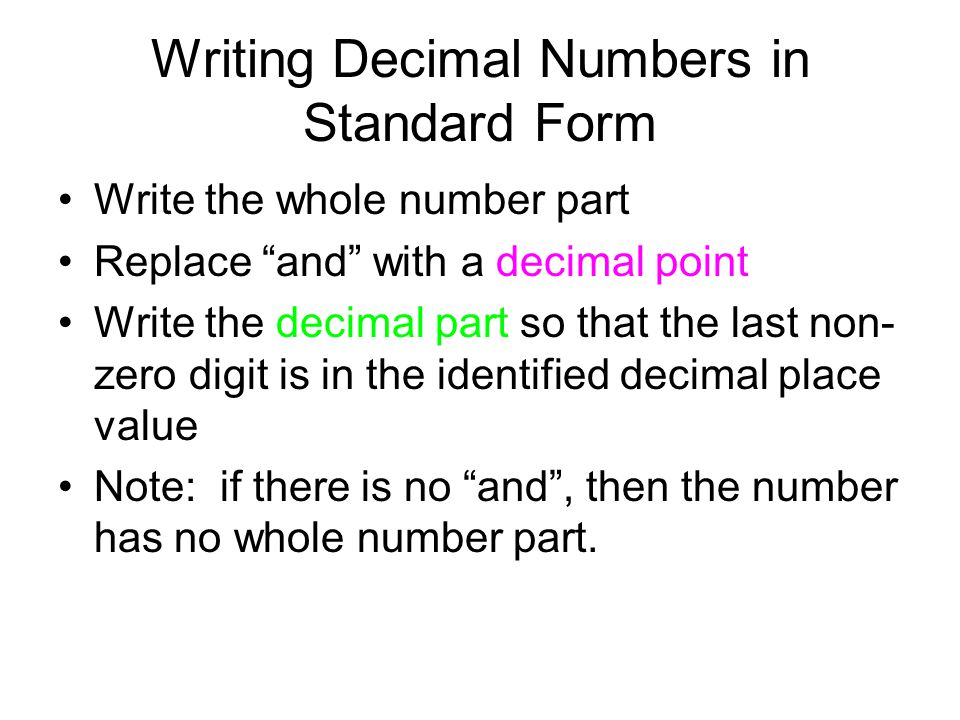 Writing Decimal Numbers in Standard Form