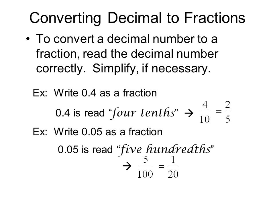 Converting Decimal to Fractions