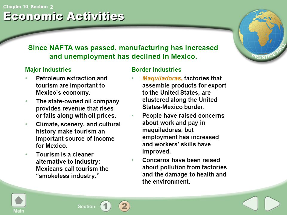 2 Economic Activities. Since NAFTA was passed, manufacturing has increased and unemployment has declined in Mexico.