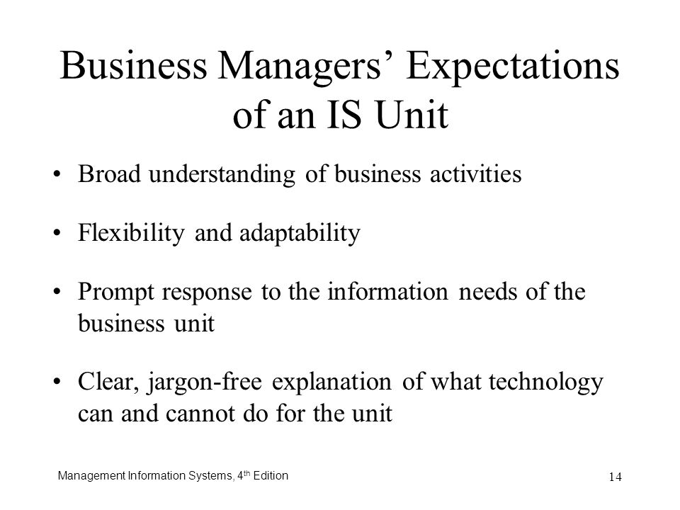 Business Managers' Expectations of an IS Unit