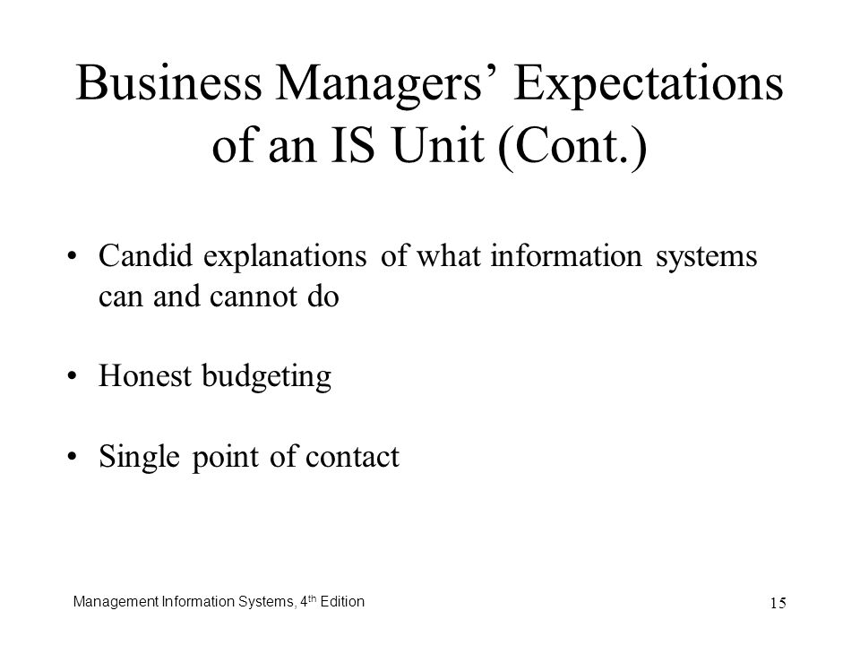 Business Managers' Expectations of an IS Unit (Cont.)