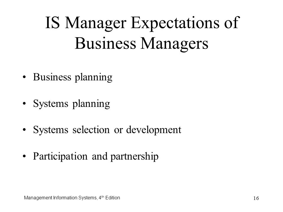 IS Manager Expectations of Business Managers