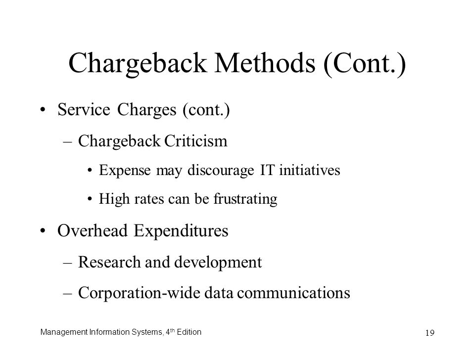 Chargeback Methods (Cont.)