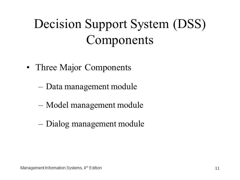 Decision Support System (DSS) Components