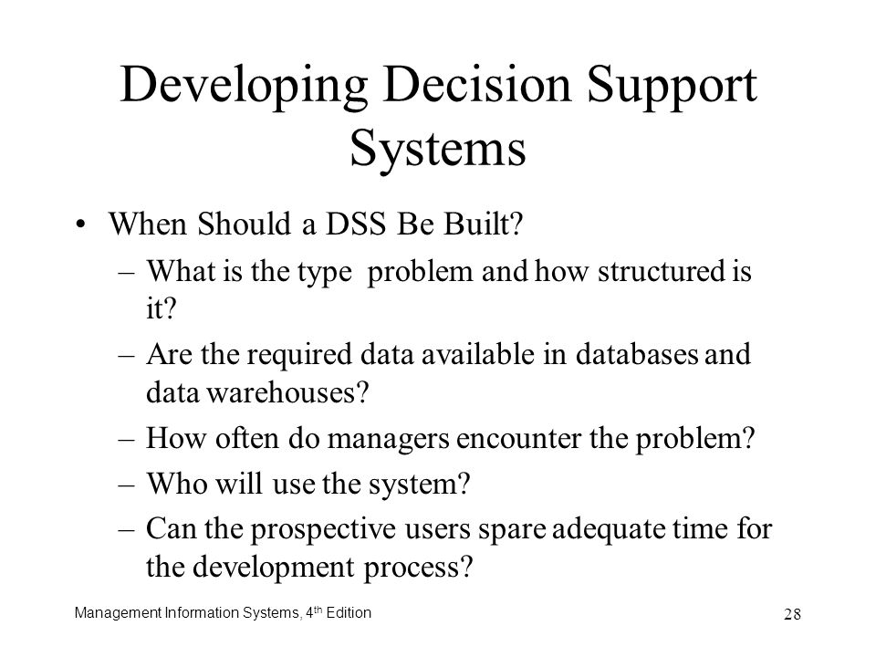 Developing Decision Support Systems