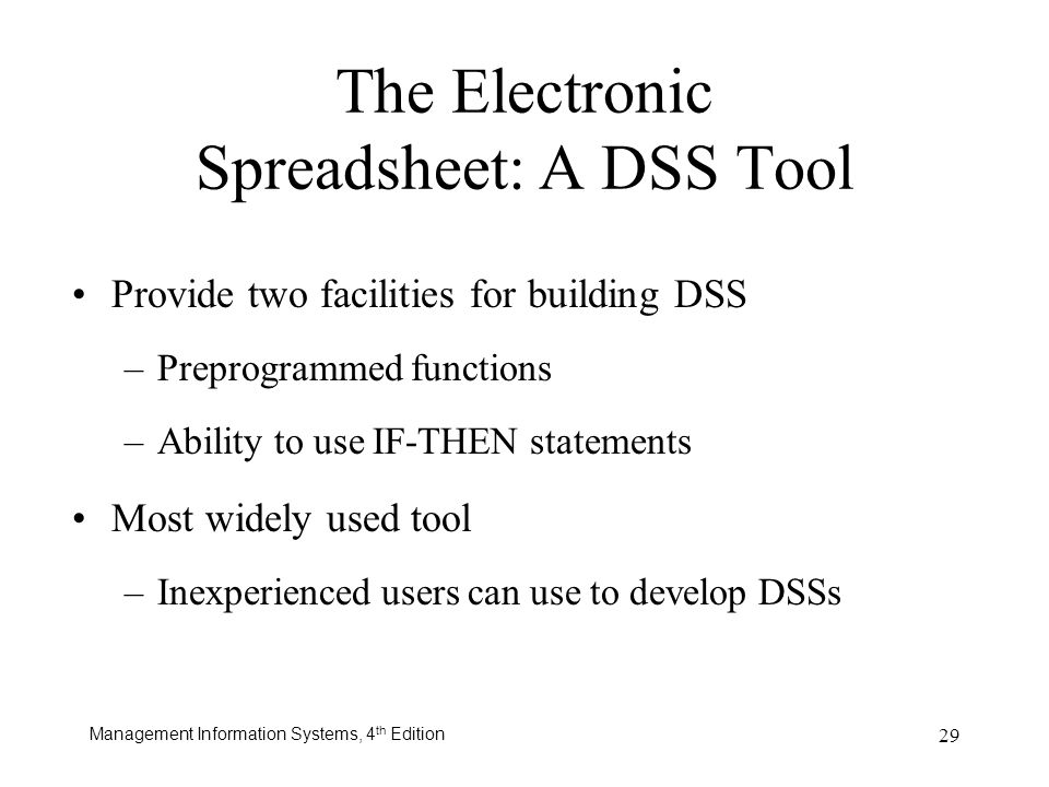 The Electronic Spreadsheet: A DSS Tool