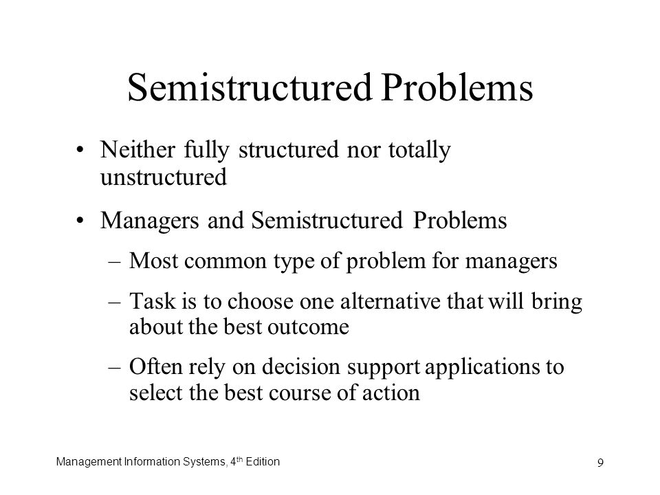 Semistructured Problems