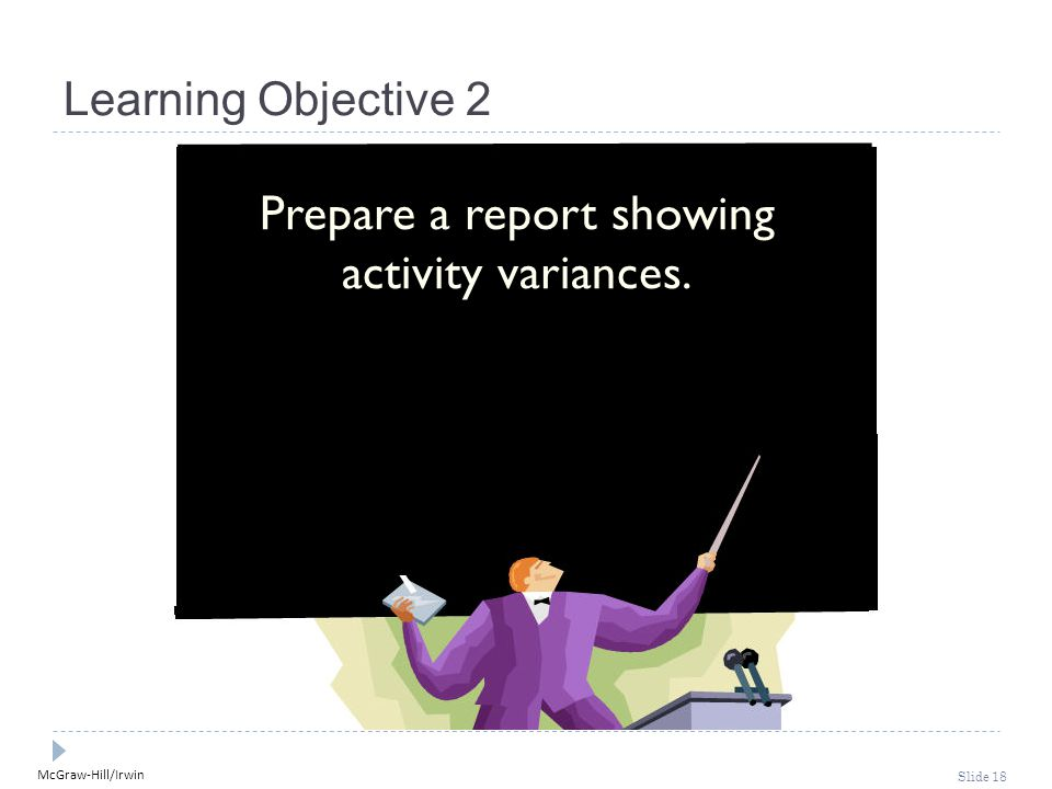 Prepare a report showing activity variances.