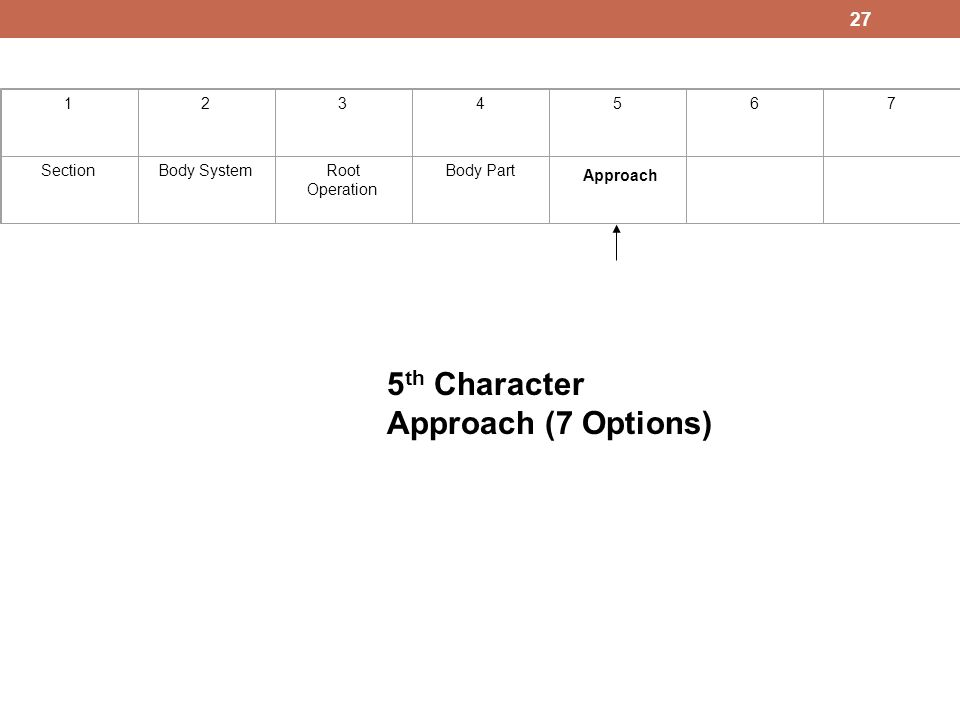 5th Character Approach (7 Options) 1 2 3 4 5 6 7 Section Body System