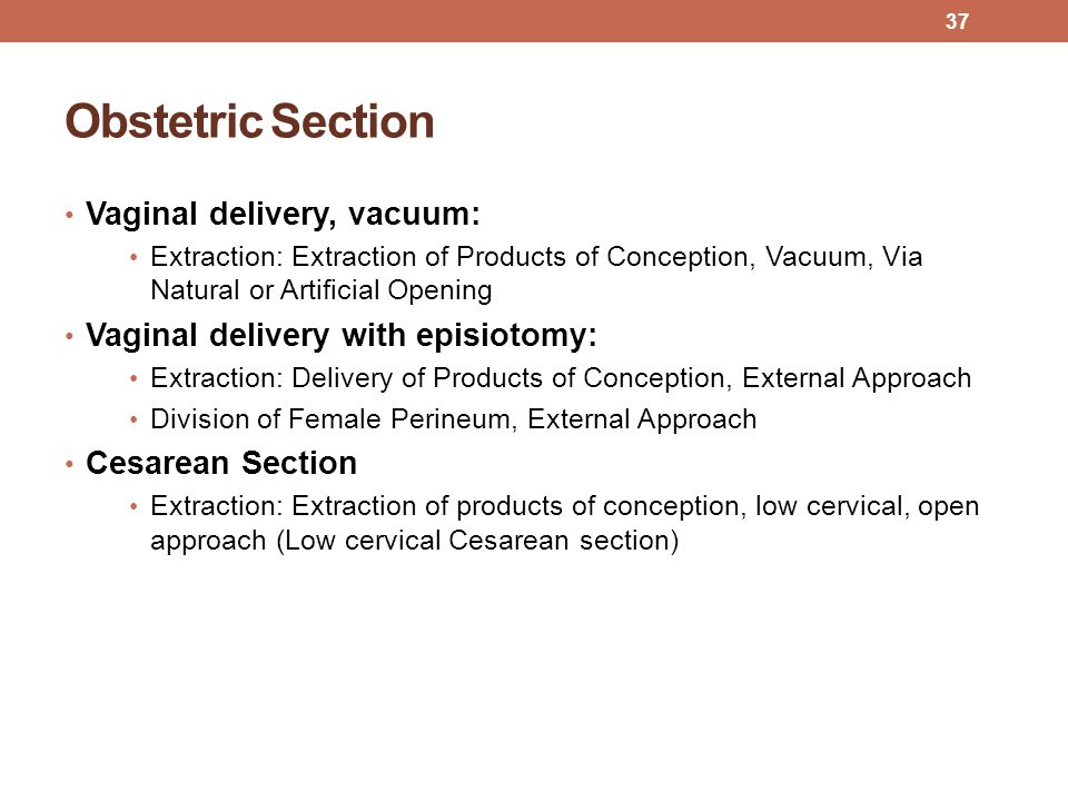 Obstetric Section Vaginal delivery, vacuum:
