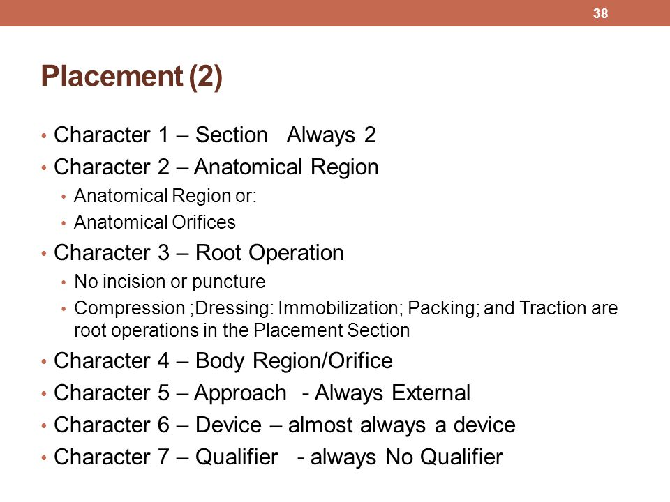 Placement (2) Character 1 – Section Always 2