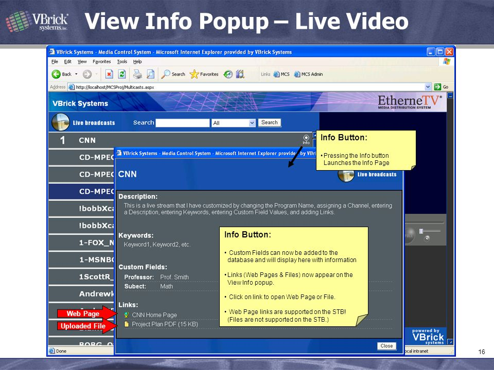 View Info Popup – Live Video