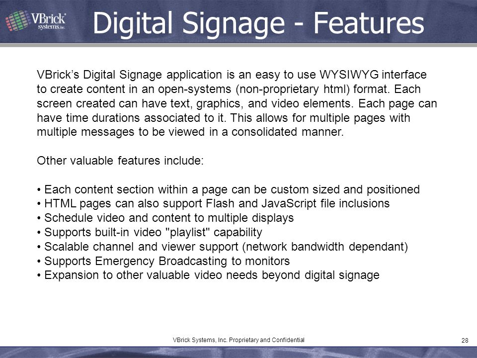 Digital Signage - Features