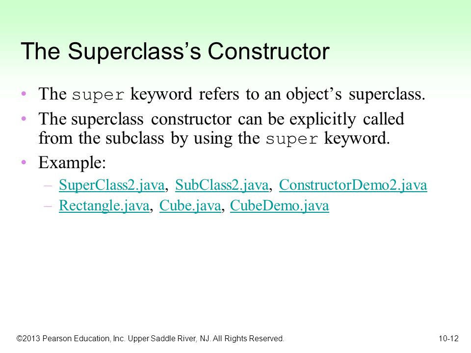 The Superclass's Constructor