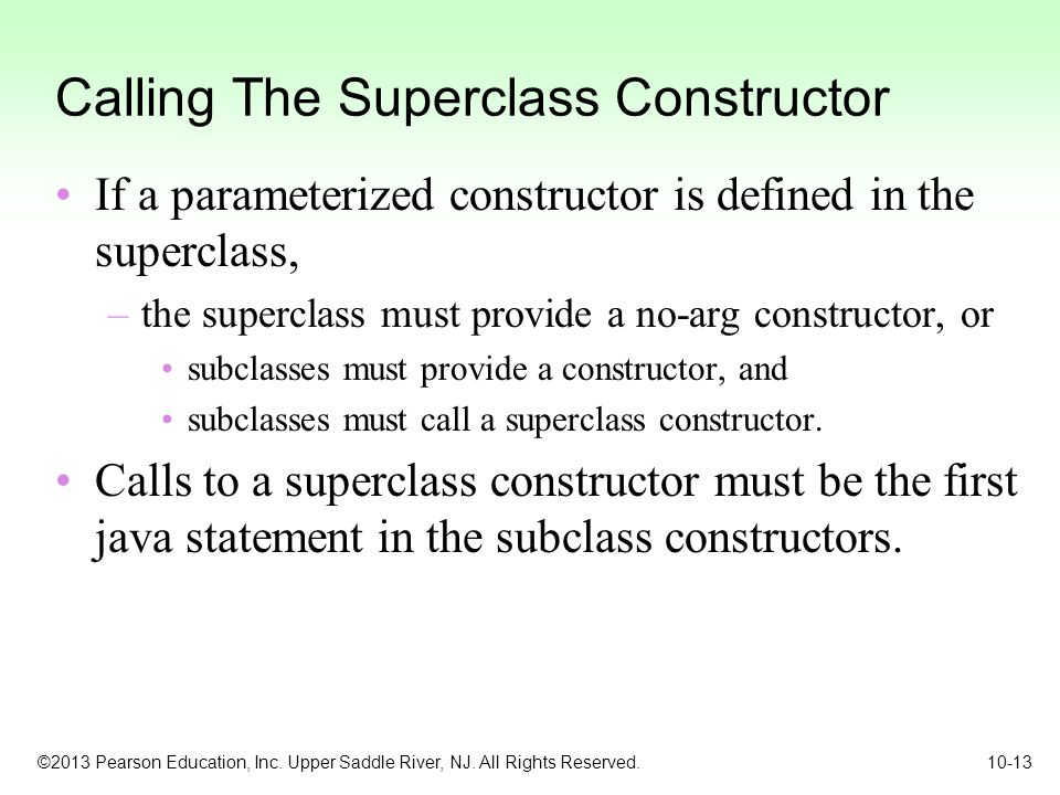 Calling The Superclass Constructor