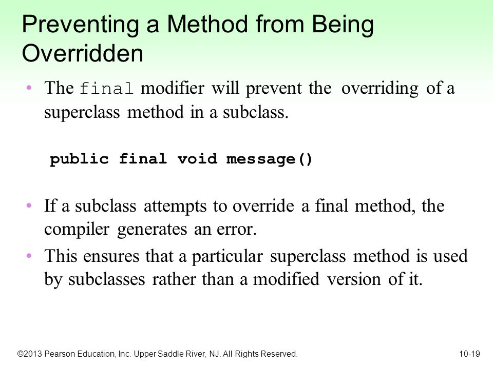 Preventing a Method from Being Overridden