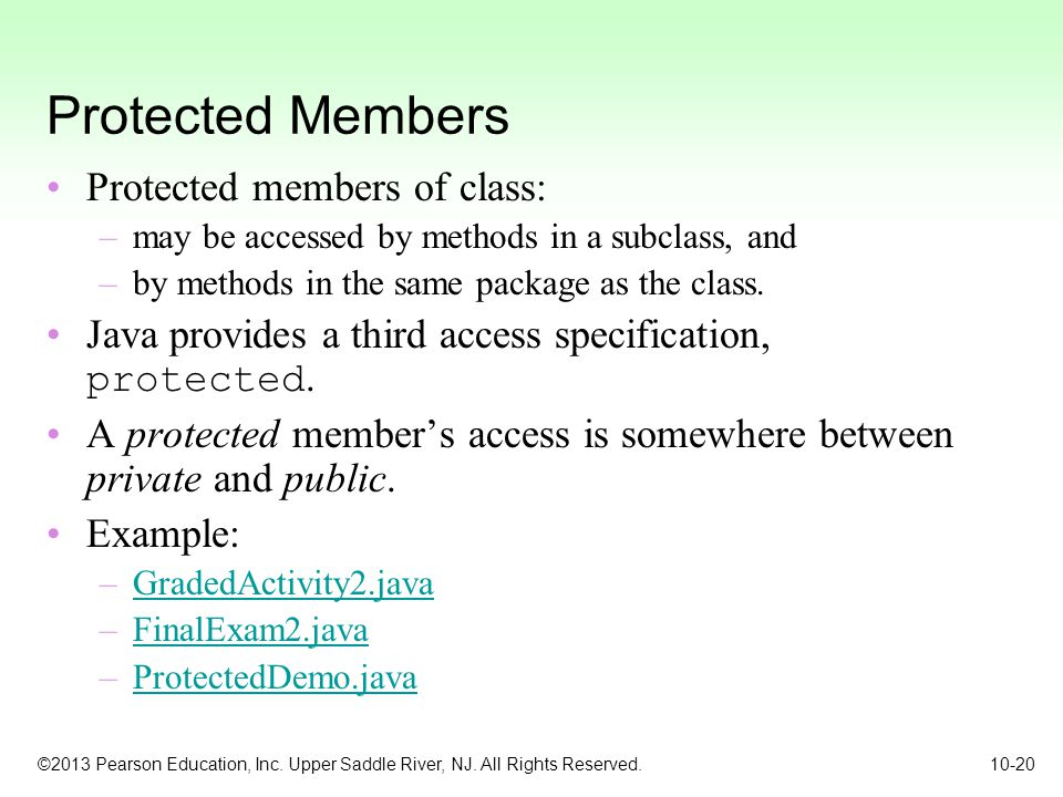 Protected Members Protected members of class: