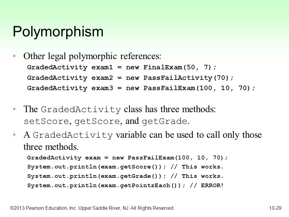 Polymorphism Other legal polymorphic references: