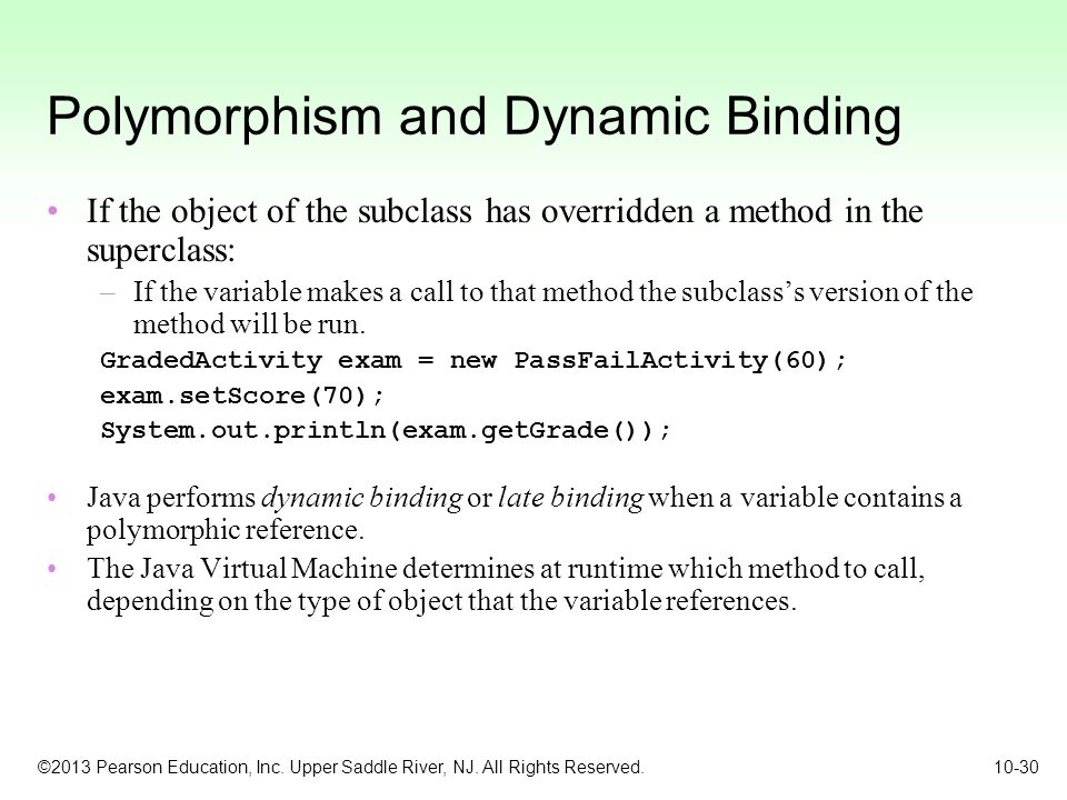 Polymorphism and Dynamic Binding