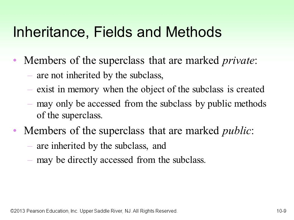 Inheritance, Fields and Methods