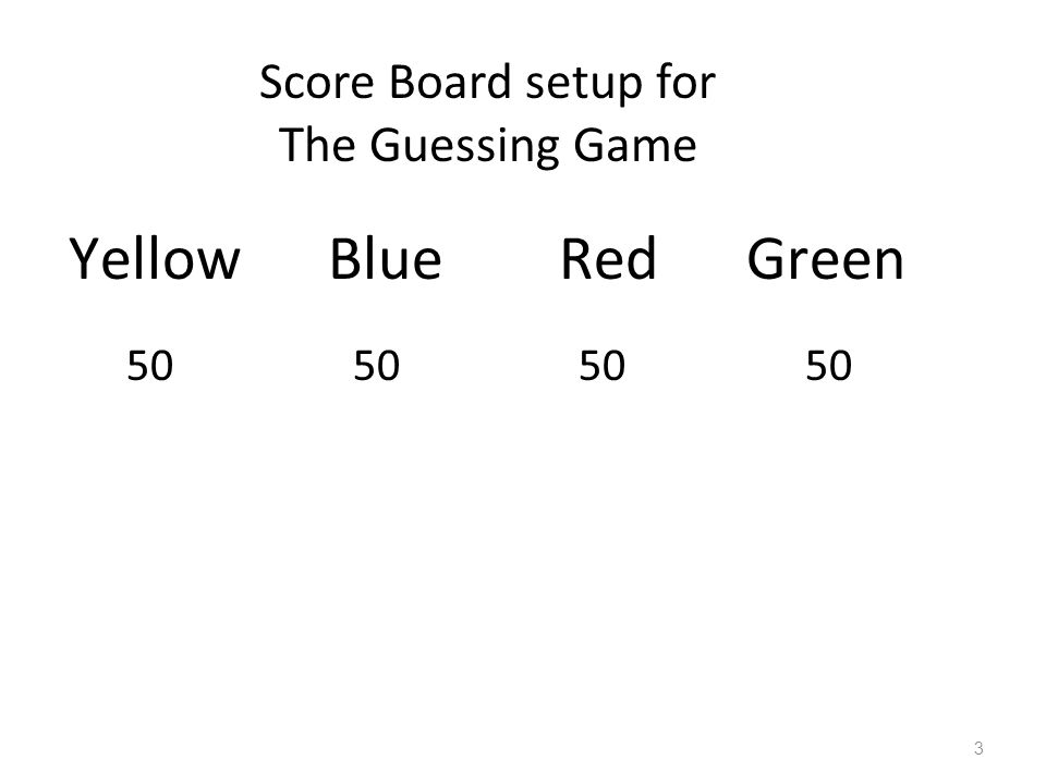 Yellow Blue Red Green Score Board setup for The Guessing Game