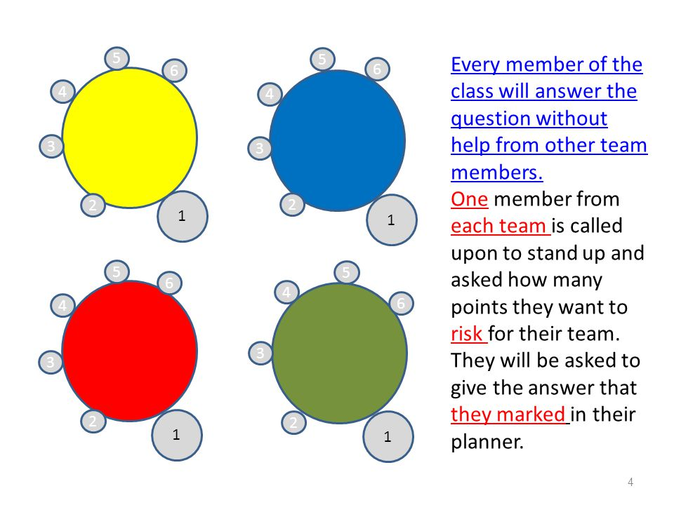 5 5. Every member of the class will answer the question without help from other team members.