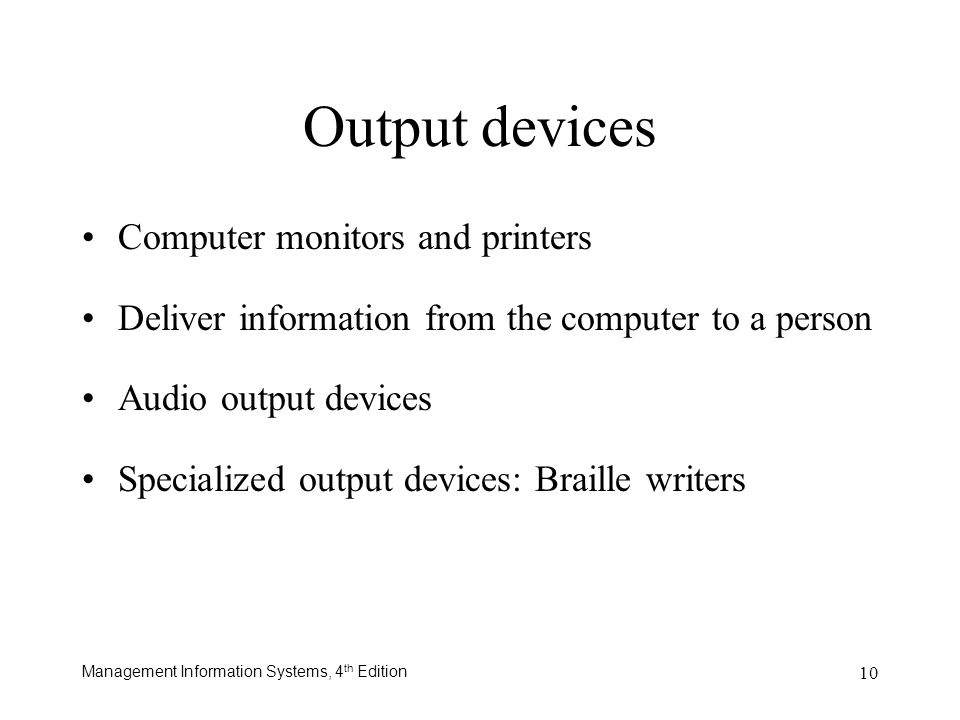 Output devices Computer monitors and printers