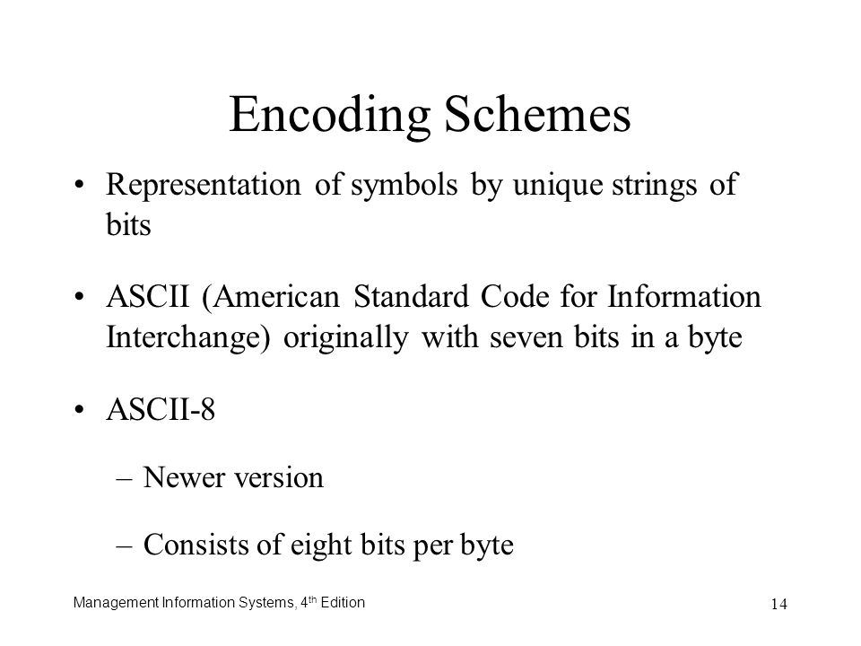 Encoding Schemes Representation of symbols by unique strings of bits