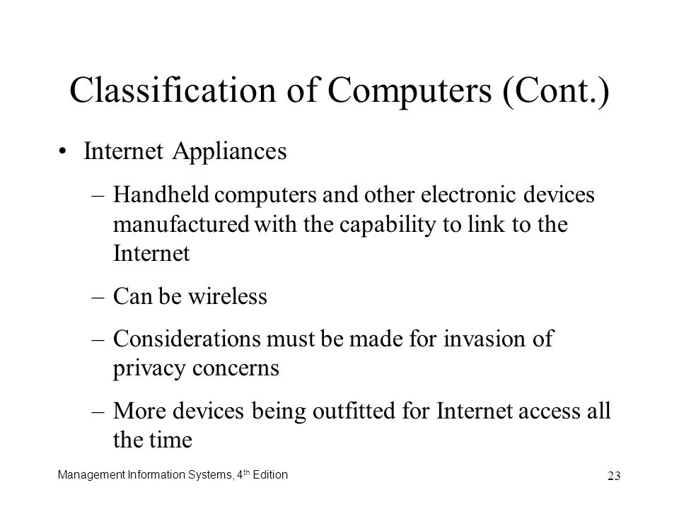 Classification of Computers (Cont.)