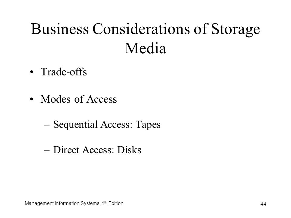 Business Considerations of Storage Media