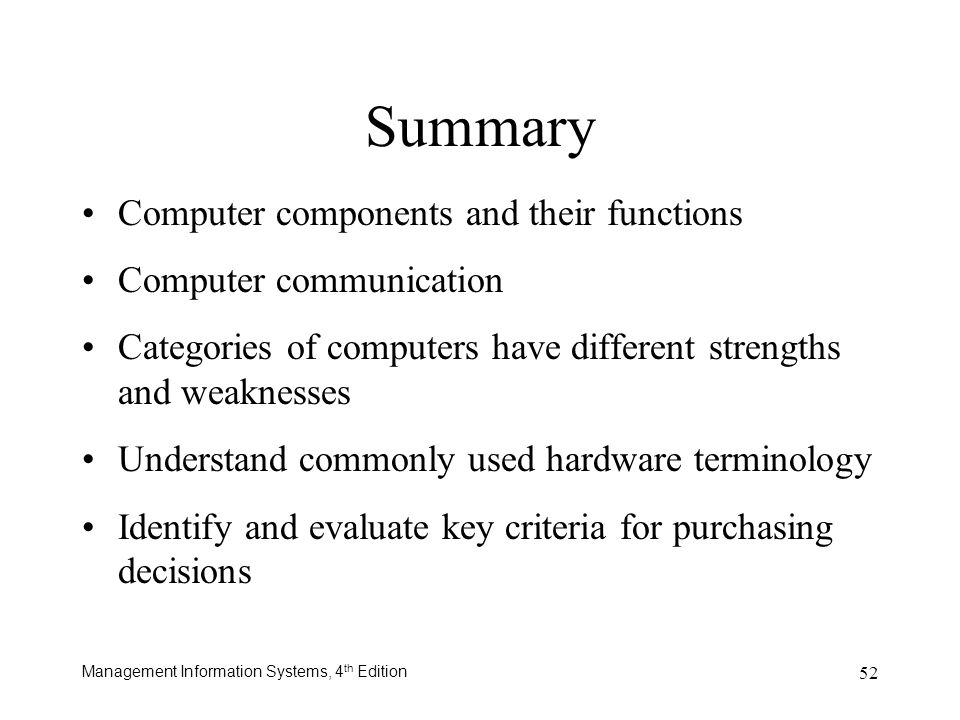 Summary Computer components and their functions Computer communication
