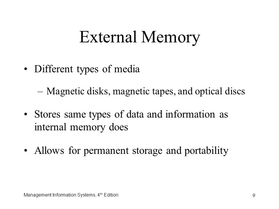 External Memory Different types of media