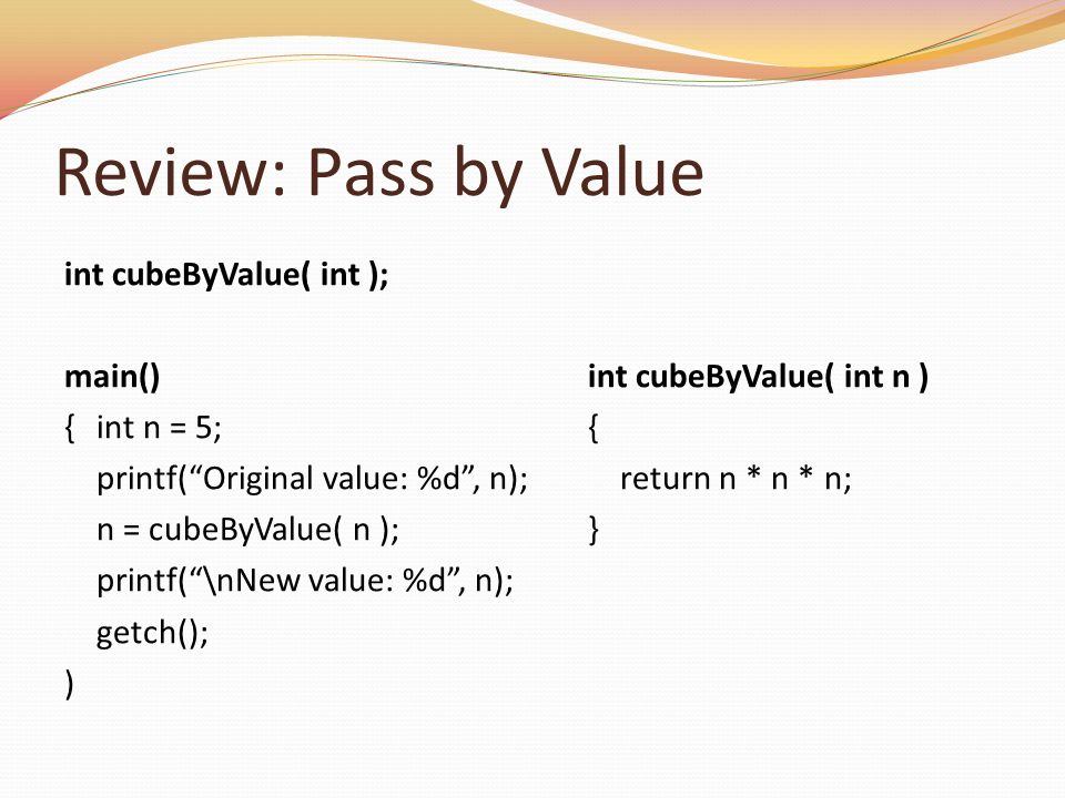 Review: Pass by Value