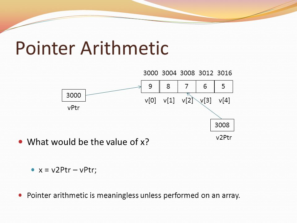 Pointer Arithmetic What would be the value of x x = v2Ptr – vPtr;