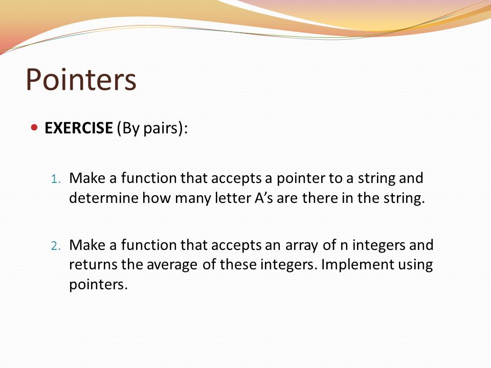 Pointers EXERCISE (By pairs):